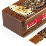 Great Horned Owl Wooden Cribbage Board with quality metal pegs and deck of cards