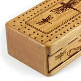 Dragonflies Engraved Wooden Cribbage Board with quality metal pegs and deck of cards
