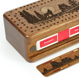 Gray Wolf Engraved Wooden Cribbage Board with quality metal pegs and decks of cards