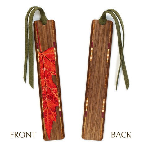 Red Maple Leaf Wooden Bookmark with Green Suede Tassel