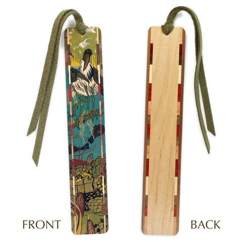 Rookery - original woodcut art by Jenny Pope - Rookery II Color Wooden Bookmarks with Tassel