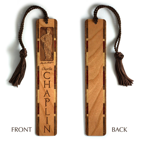 Charlie Chaplin Engraved Wooden Bookmark with Brown Rope Tassel