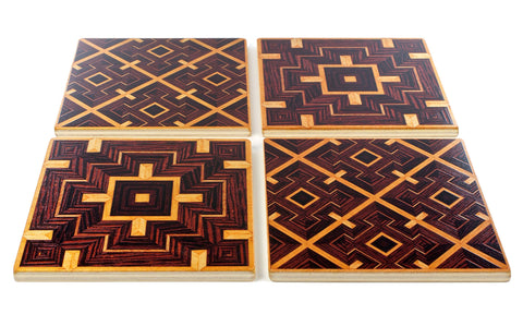 Set of 4 Wooden Coasters - Adapted From Unique Woodworking Patterns by Mitercraft - set 03