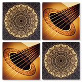Set of 4 Wooden Coasters - Guitar and Music Notes