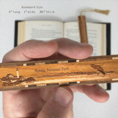 Acadia National Park, Mount Desert Maine, Wooden Bookmark - Original Engraving with Tassel