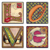 Pick A Letter Wood Coasters with Artwork By Christi Sobel