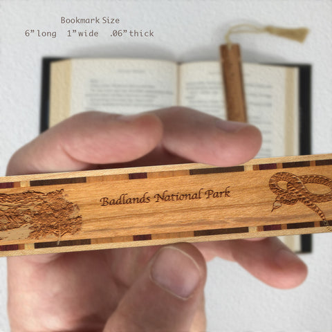 Badlands National Park South Dakota Wooden Bookmark with Laser Engraving and Tassel
