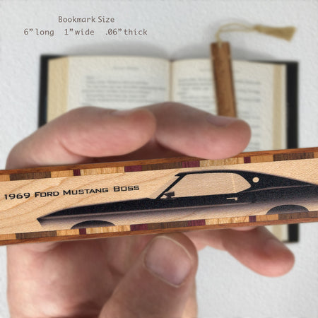 Cars - 1969 Ford Mustang Boss Classic Hand Made Wooden Bookmark with Tassel