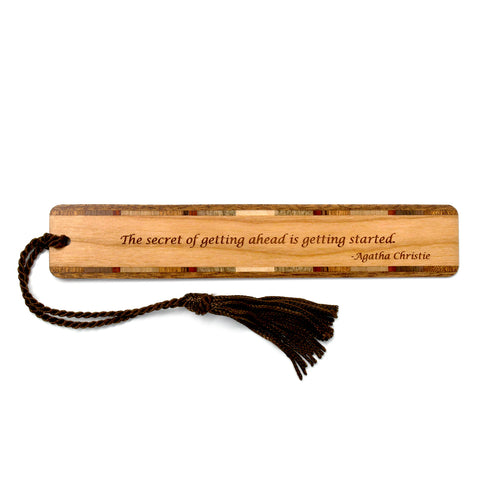 Agatha Christie Getting Started Quote On Hand Made Wooden Bookmark with Tassel