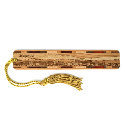 Albuquerque New Mexico Downtown Panoramic Cityscape Engraved Wooden Bookmark with Tassel