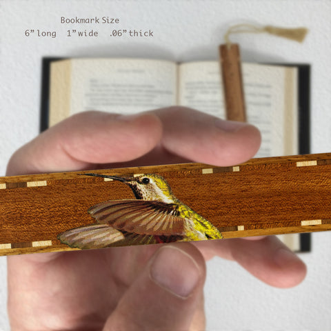 Anna's Hummingbird - Wooden Bookmark with Tassel