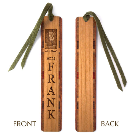Anne Frank - Engraved Wooden Bookmark with Tassel