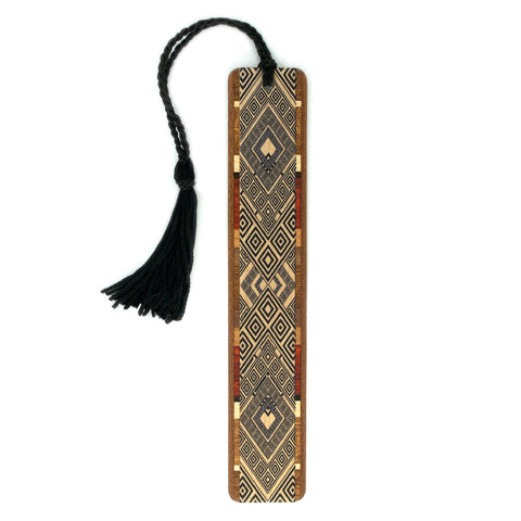 Argyle Pattern in Black Color Wooden Bookmark with Tassel