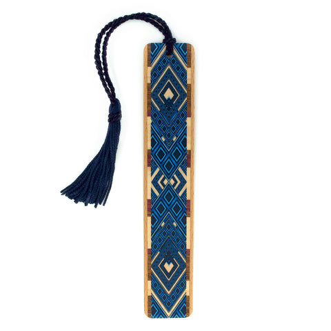 Argyle Pattern in Blue Color Wooden Bookmark with Tassel