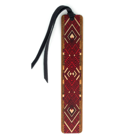 Argyle Pattern in Red Color Wooden Bookmark with Tassel