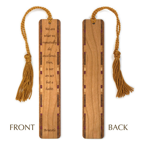 Excellence Quote by Aristotle Engraved Wood Bookmark With Inlays and Tassel