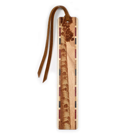 Aspen Tree Engraved on Cherry Wooden Bookmark with Tassel