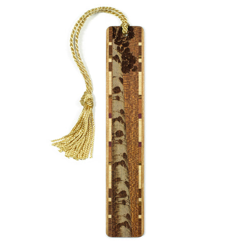 Aspen Tree - Engraved Wooden Bookmark on Sapele with Tassel