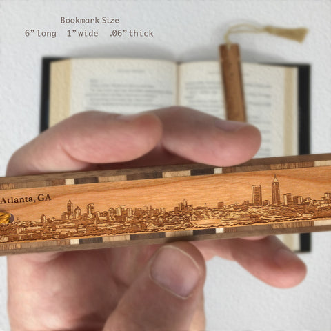 Atlanta Georgia Cityscape Skyline Engraved Wooden Bookmark with Tassel