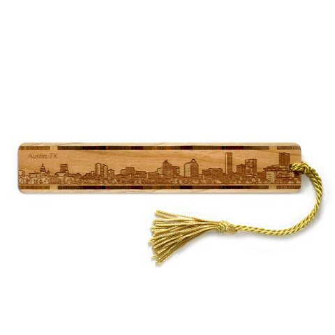 Austin Texas Skyline Engraved Wooden Bookmark with Tassel