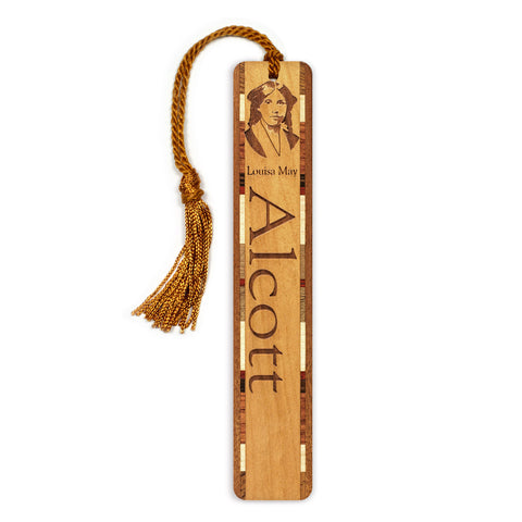 Author - Louisa May Alcott Engraved Wooden Bookmark with Tassel