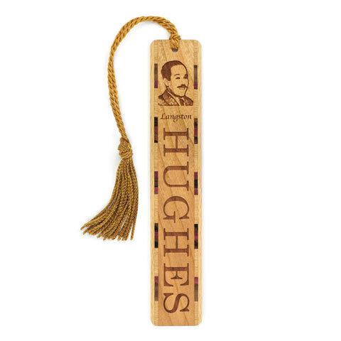 Poet - Playwright - Novelist Langston Hughes Engraved Wooden Bookmark with Tassel