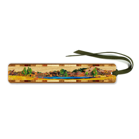 Cyclist By Lake - Bicyclist in Color Wooden Bookmark with Tassel