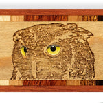 Owl Eyes Engraved and Color Wooden Bookmark with Tassel