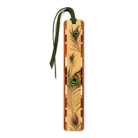 Peacock Feather Wooden Bookmark with Green Suede Tassel