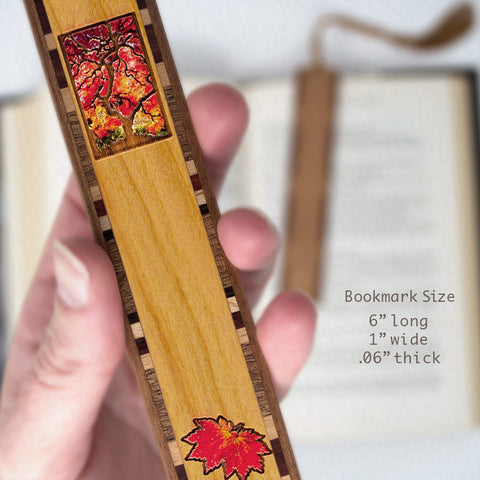 Tree and Leaves - Autumn - Arboretum Engraved Color Wooden Bookmark on Cherry with Tassel