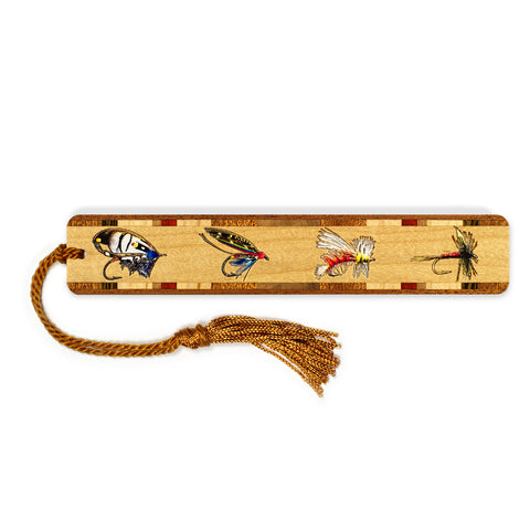 Fly Fishing Lures Engraved & Color Wooden Bookmark with Tassel
