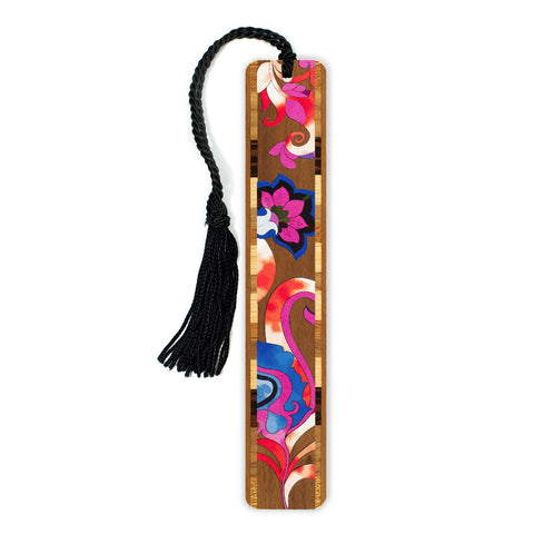 Floral - Flowers - In Color Wooden Bookmark with Tassel