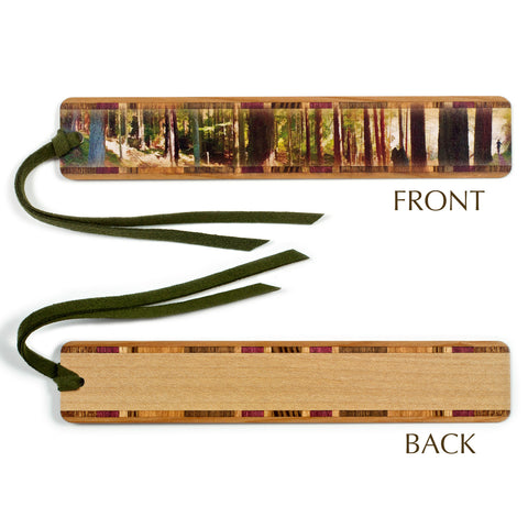 Panoramic Forest Hiker in Color Wooden Bookmark with Tassel