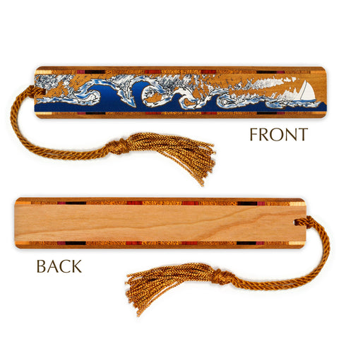Sailing Stormy Seas Wooden Bookmark with Tassel