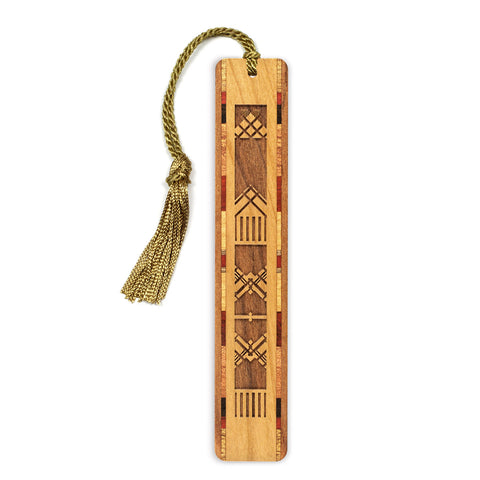 Engraved Wooden Bookmark with Tassel - Tapestry