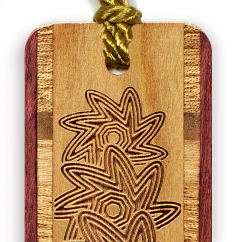 Engraved Wooden Bookmark with Tassel - Spin Flower