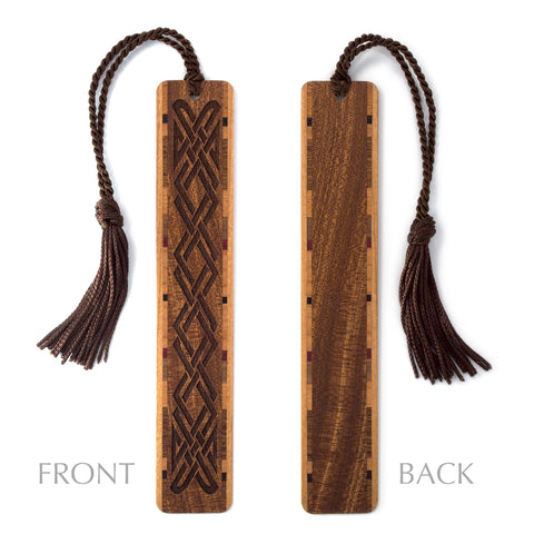 Celtic Knot Design - Engraved Wooden Bookmark on Sapele with Tassel