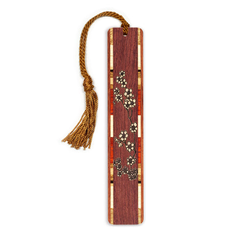 Cherry Blossoms - Flowers - Floral Engraved Wooden Bookmark with Tassel