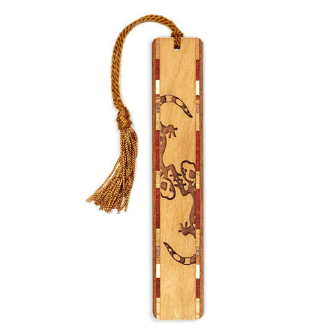 Gecko Dance Engraved Wooden Bookmark