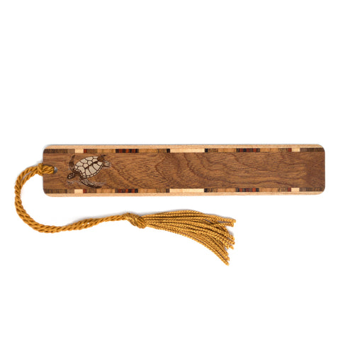Sea Turtle - Tortoise Engraved Wooden Bookmark on Sapele with Tassel