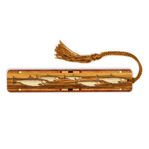 Fish Engraved Wooden Bookmark with Copper Tassel
