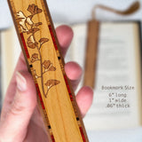 Gingko Leaves Engraved Wooden Bookmark