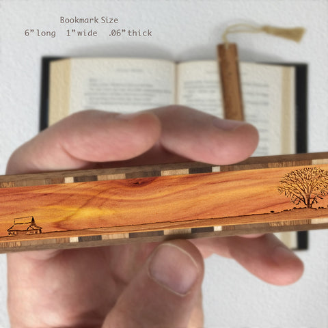 Lone Tree with Country House Engraved Wooden Bookmark on Cedar with Tassel