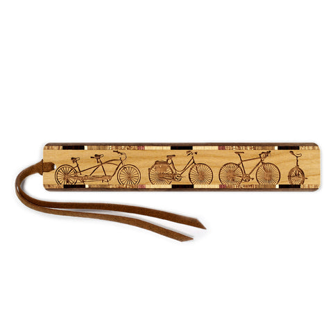 Bicycles Engraved Wooden Bookmark with Tassel