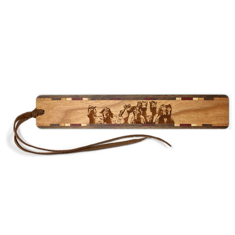 Wild Horses Engraved Wooden Bookmark with Tassel