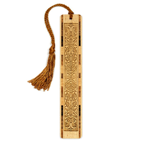 Engraved Wooden Bookmark with Tassel - Ornate