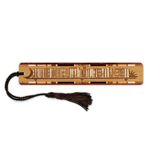 Bookshelf Engraved Wooden Bookmark with Tassel