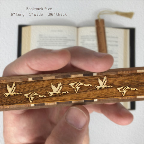 Geese Engraved Wooden Bookmark with Tassel