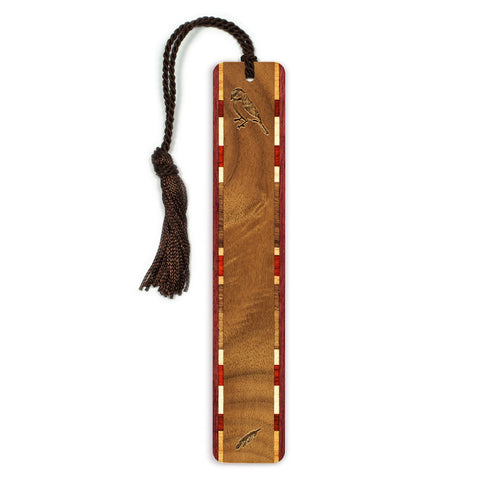 Finch Engraved Wooden Bookmark with Tassel