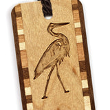 Heron Walk - Great Blue Heron - Engraved Wooden Bookmark with Tassel